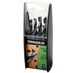 Coffret 8 mèches à bois queue cylindrique DIAGER