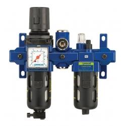 Filtre régulateur lubrificateur avec manomètre et sortie d'air sec PREVOST