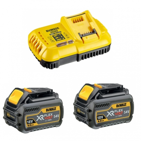Pack chargeur + 2 batteries 54 V XR FLEXVOLT DEWALT DCB1118T2