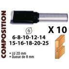 Coffret aluminium de 10 mèches droites carbure LEMAN 42870010