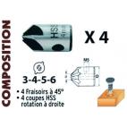 Coffret 4 forets hélicoïdaux + fraisoirs bois LEMAN 203 500 04