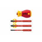 Tournevis porte-embout STUBBY + 3 embouts isolés WIHA 41230