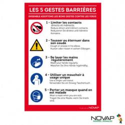 Panneau A4 rigide les 5 gestes barrières