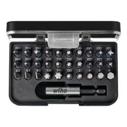 Coffret 30 embouts standard FENTE/PH/PZ/TORX/6 PANS + porte-embout WIHA