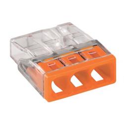 Borne 2273X100-conducteur rigide-3 conducteurs-orange-WAGO