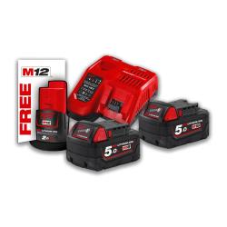 Pack énergie 2 batteries 18 V 5 Ah Redlithium ion + chargeur + batterie 12 V MILWAUKEE 4933459217