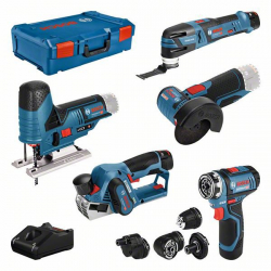 Pack 5 outils 12V GSR FC + GOP + GHO + GWS + GST + 3 batteries + chargeur BOSCH 0615A0017D