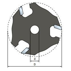 Fraise à rainurer 3 tranchants - Ø50,8 mm - ØQ8 mm - H3,97 mm - FREUD F03FR02021