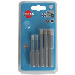 Forets diamantés grès cérame Ø 5 / 6 / 8 / 10 / 12 mm pour perceuse LEMAN 6500.05