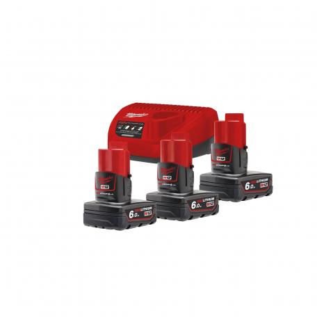 Pack énergie 1 chargeur + 3 batteries 12V 6Ah M12 NRG-603 MILWAUKEE 4933459208