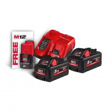 Pack énergie 2 batteries 18 V 5,5 Ah + chargeur M18 HNRG-552 MILWAUKEE 4933464713