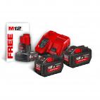 Pack énergie 2 batteries 18 V 12 Ah + chargeur M18 + 1 batterie 12V 6Ah M18 HNRG-122 MILWAUKEE 4933464261