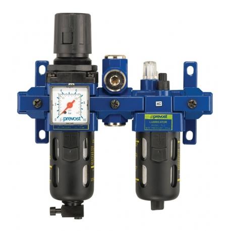 Filtre régulateur lubrificateur avec manomètre et sortie d'air sec PREVOST TB SME2